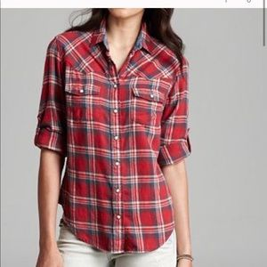 Zach's girlfriend medium plaid flannel shirt NWT